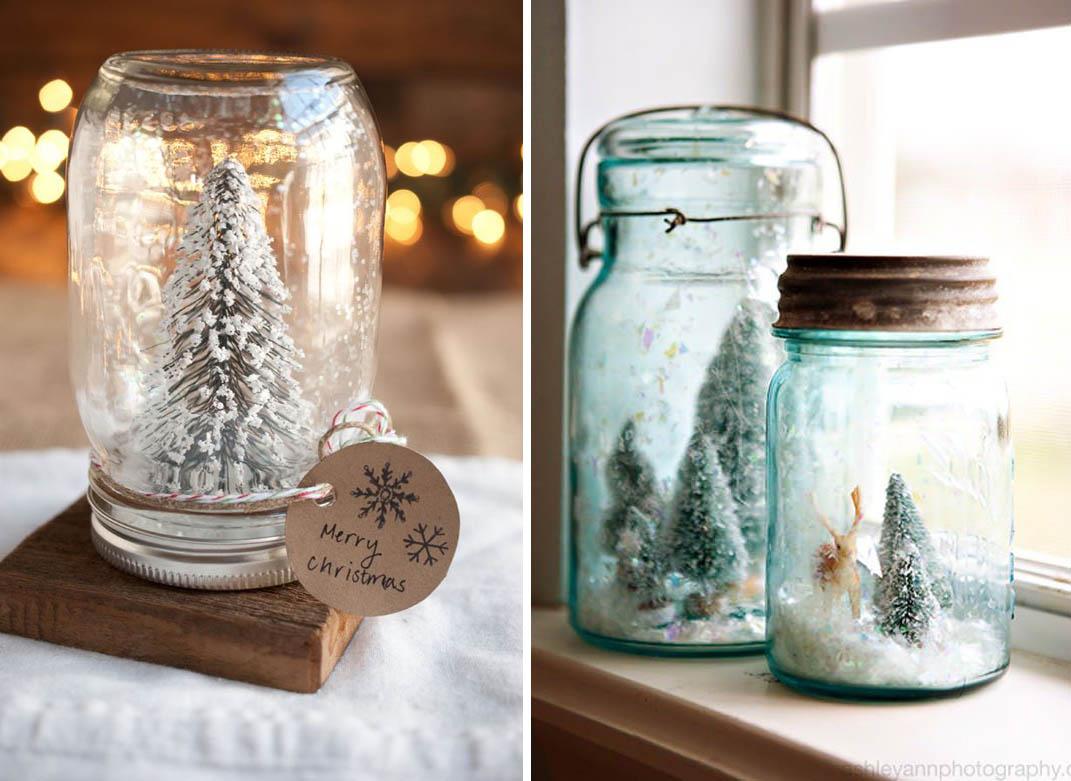 Estremamente Barattoli di vetro con neve - decorazioni di Natale fai da te  GH52