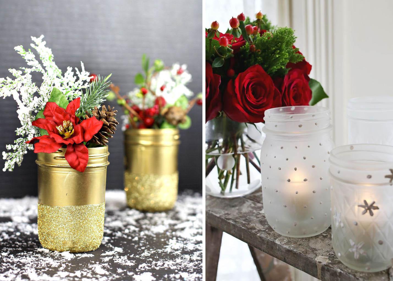 Trasformare i barattoli in decorazioni natalizie for Decorazione vasi