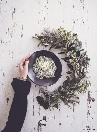 Spatzle agli spinaci con panna, speck e ricotta affumicata
