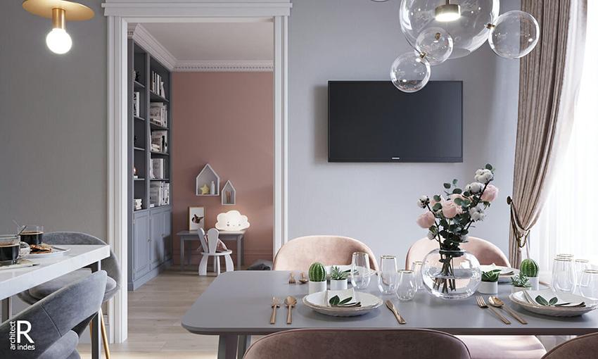 vivere in rosa: 84 metri quadri a Mosca