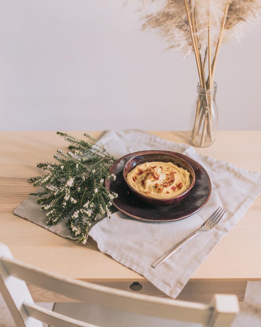 crema di patate e zucca con bacon croccante