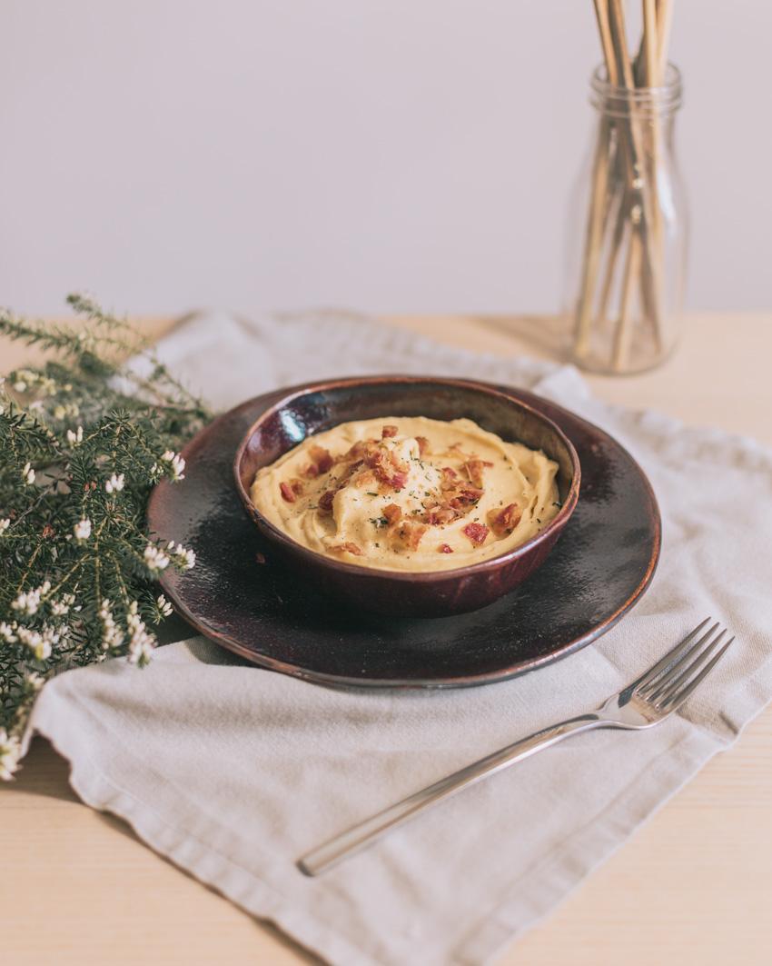 purè di patate e zucca con bacon